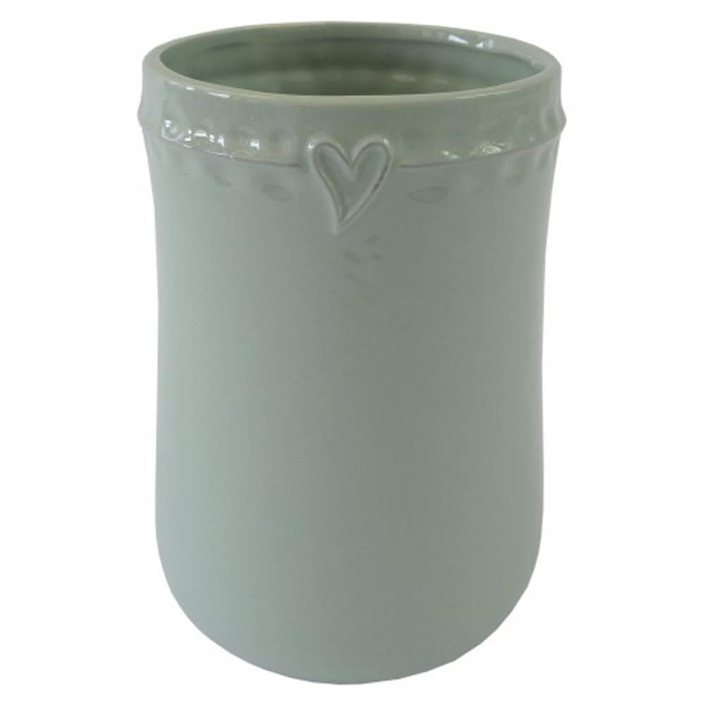 OKAY nábytok Keramická váza VK49 mätová so srdiečkom