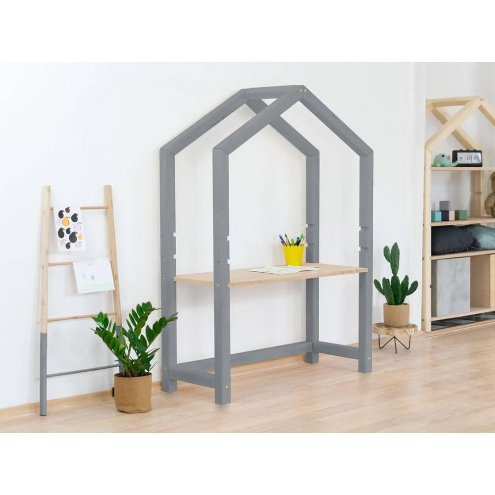 Benlemi Sivý drevený domčekový stôl s béžovou doskou Benlemi Stolly, 97 x 133 cm