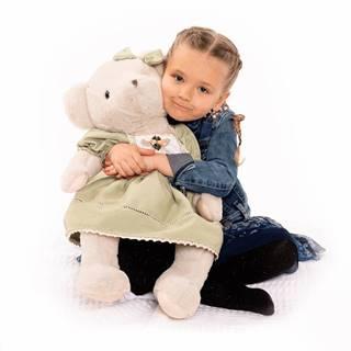 Plyšový medveď smotanová/zelená 65cm MADEN GIRL TYP2