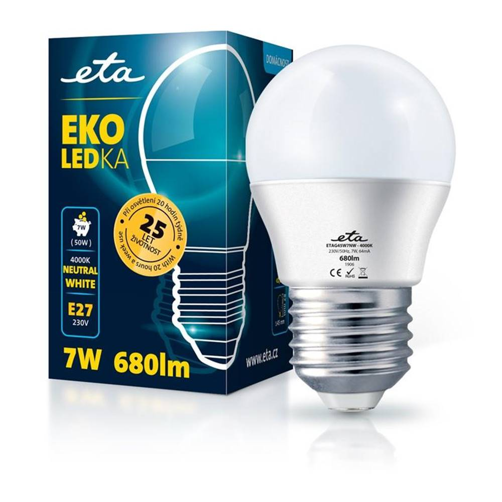 Eta LED žiarovka ETA EKO LEDka mini globe 7W, E27, neutrálna biela