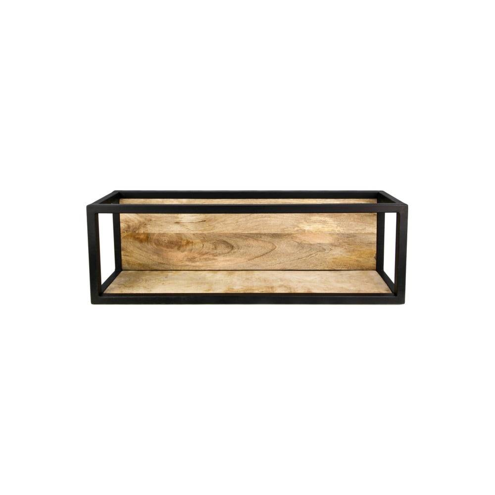 HSM collection Nástenná polica s detailom z mangového dreva HSM collection Caria, 75×25 cm
