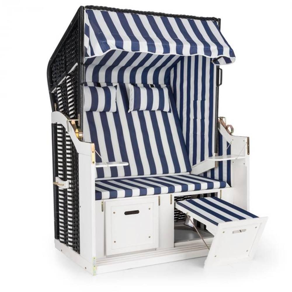 Blumfeldt Blumfeldt Hiddensee, plážové sedenie, plážový kôš XL, dvojsedadlo, ležadlo, borovica, modré/biele, pruhovaný motív