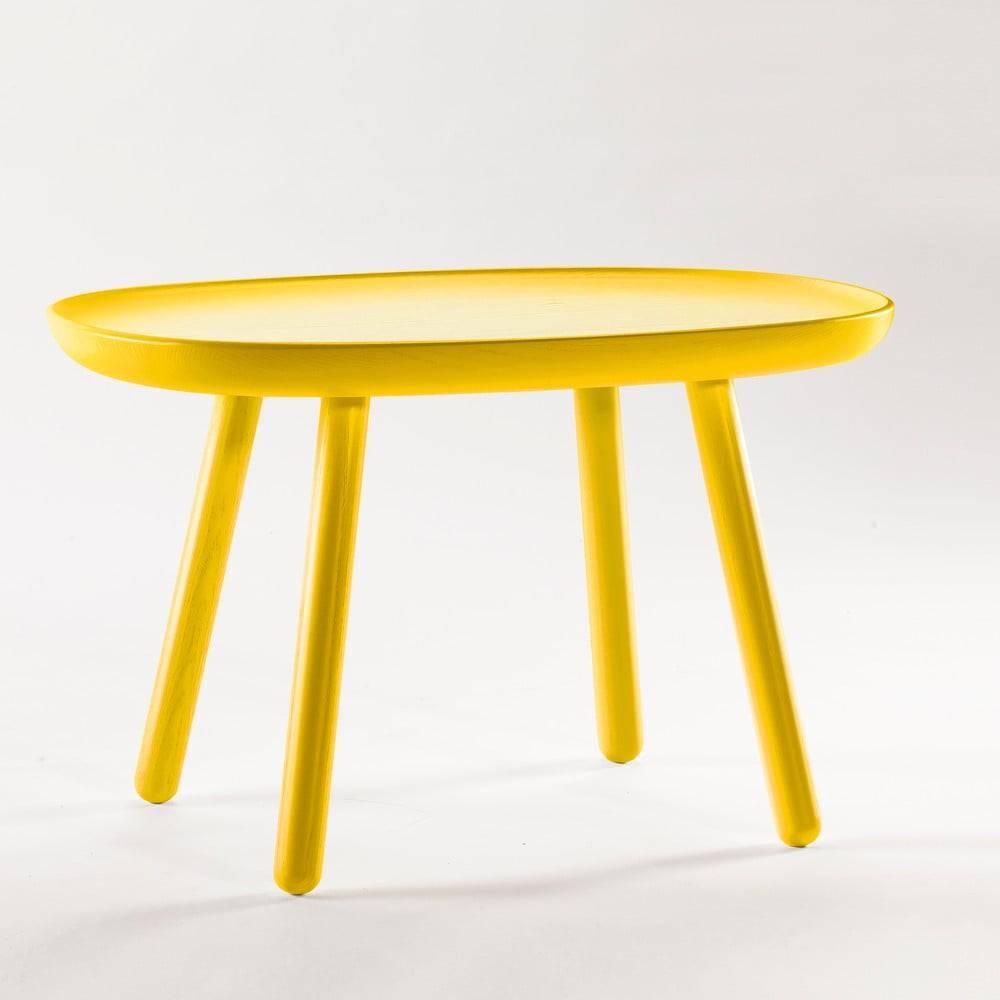 EMKO Žltý stolík z masívu EMKO Naïve, 61 x 41 cm