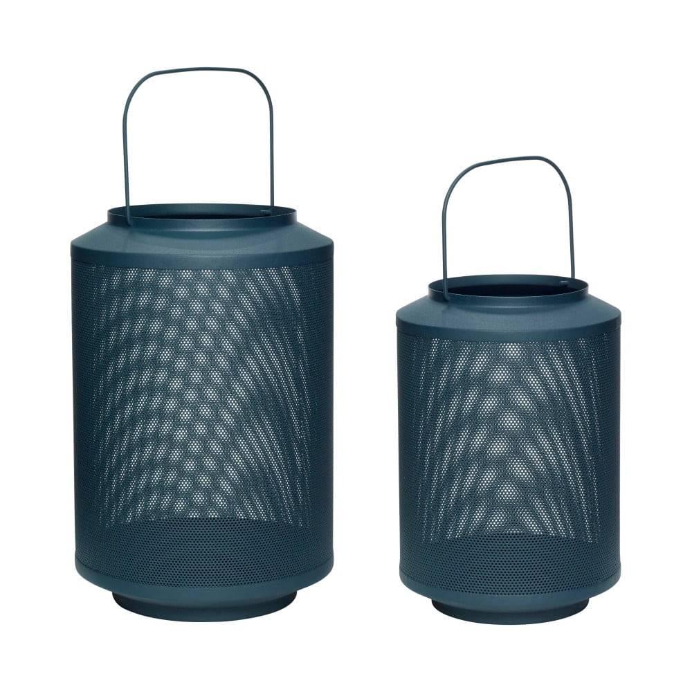 Hübsch Súprava 2 tmavozelených železných lampášov Hübsch Fento