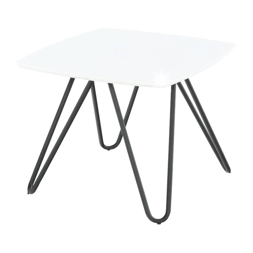Tempo Kondela Príručný stolík biela vysoký lesk/čierna KANER 1